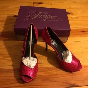 Fergie Hot Pink Metallic Peep Toe Heels, NWB, 8